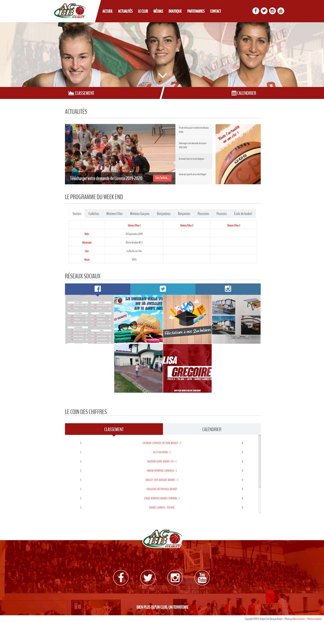 Création du site Anglet Basket